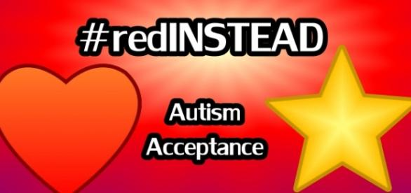 Red Graphic with #redinstead and autism acceptance/Graphic: Nancy Jobes