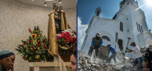 """Miracol în Ecuador după ce statuia Fecioarei Maria a rămas neatinsă în urma cutremurului - Surse foto """"The New York Times"""""""