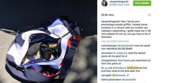 O desconhecido avisa no Instagram da actriz que encontrou as suas coisas