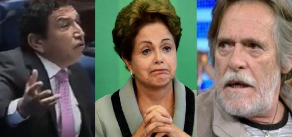 Magno Malta, Dilma e Zé de Abreu - Foto/Montagem