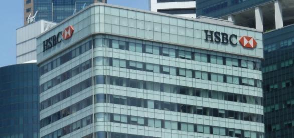 Banco HSBC en el centro de finanzas de Suiza