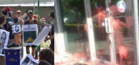 Manifestantes invadem fazendo - Foto/Montagem