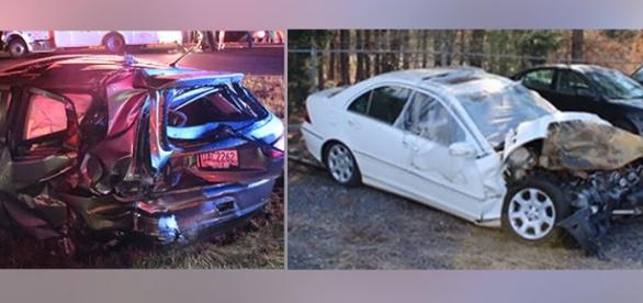 Os automóveis depois do acidente