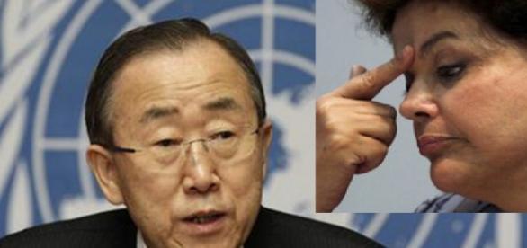 Secretário-Geral da ONU e Dilma - Foto/Montagem