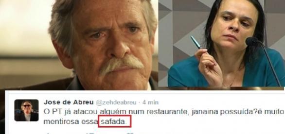 Zé de Abreu chama Janaína Pachoal de safada
