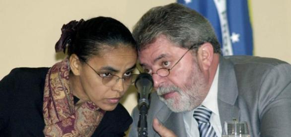 A ex-ministra Marina Silva (REDE) e o ex-presidente Lula (PT)