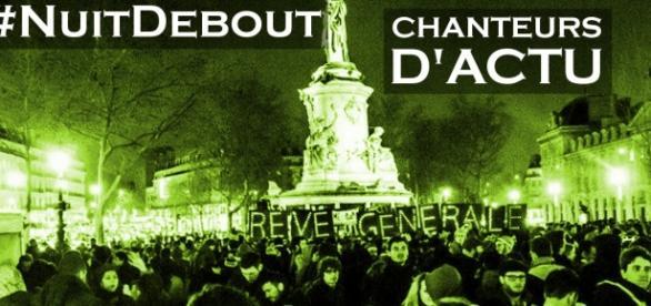 Manifestación en la plaza de la República, París.