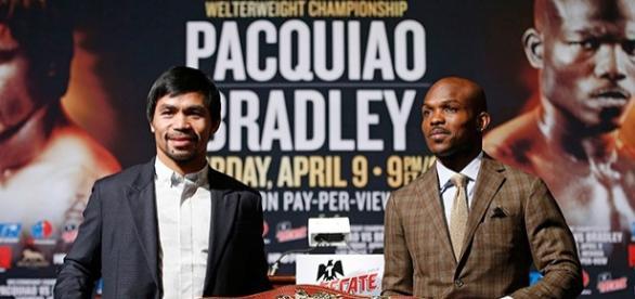 Manny Pacquiao y Timothy Bradley, en la previa del último combate del filipino