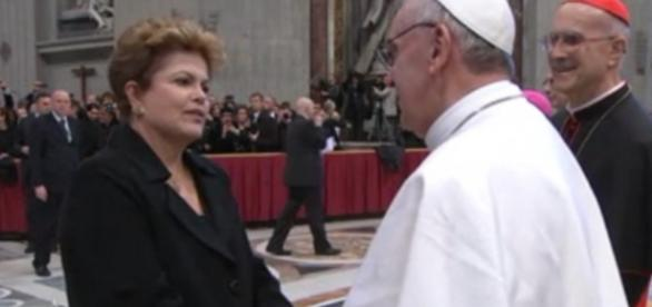 Dilma Rousseff e Papa Francisco - Imagem da internet