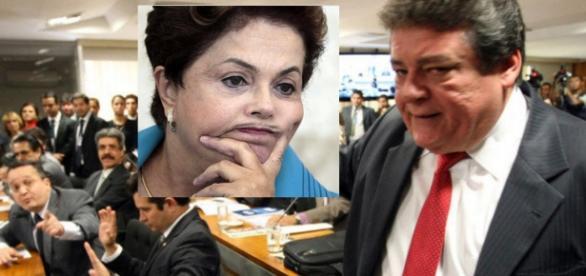 Dilma Rousseff chateada e líder do PT