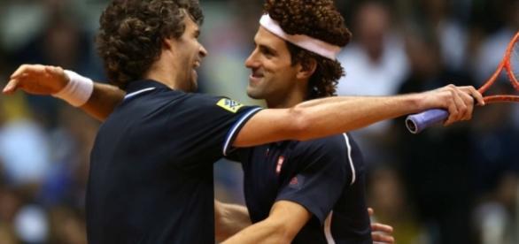 Guga e Djokovic, em exibição no Rio de Janeiro