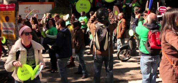 La Pah durante un escrache a miembros del PP.