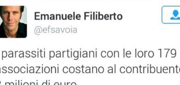 Sta facendo discutere un tweet apparso sul profilo di Emanuele Filiberto