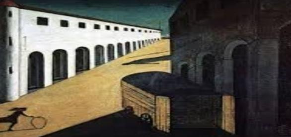 """De Chirico's """"Melancholy and Mystery of a Street"""" Creative Commons"""