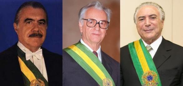 José Sarney, Itamar Franco e Michel Temer