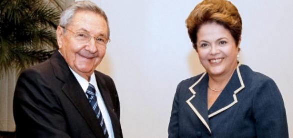 Dilma Rousseff e presidente cubano - Imagem/Google