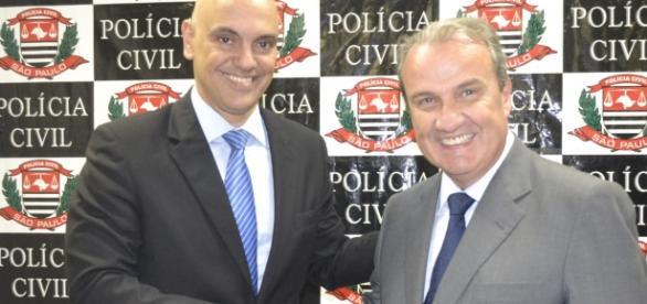 Ministro da Justiça Alexandre de Moraes e secretário Mágino Alves