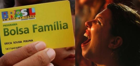 Bolsa Família e manifestante - Foto/Reprodução