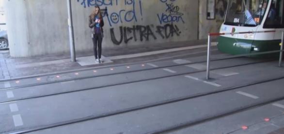Instalação de sinais de trânsito no chão na Alemanha