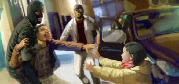 Momento do rapto numa ilustração de Ricardo Cabral