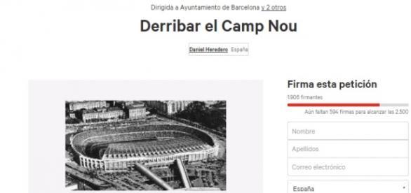 Petición de derribo Camp Nou..