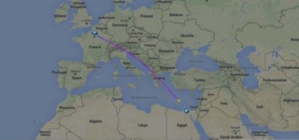 Avião está desaparecido. Fonte: google