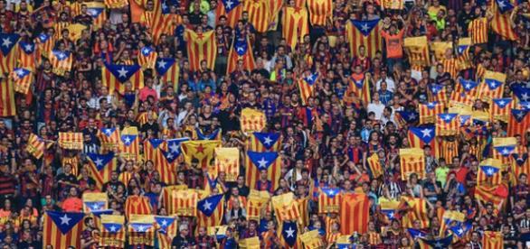 Esteladas en un partido del F.C. Barcelona