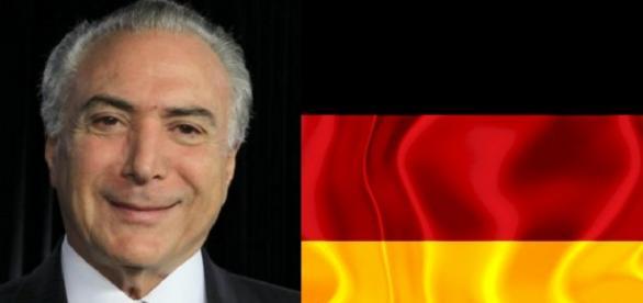 Michel Temer e bandeira da Alemanha