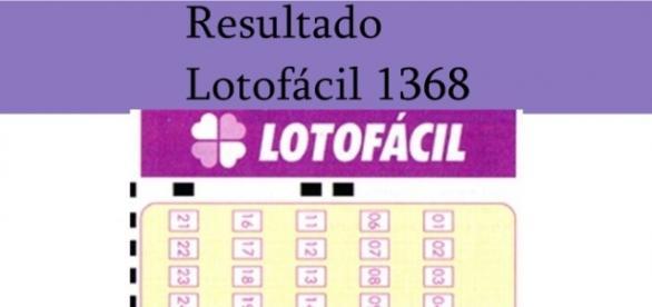 Resultado do jogo da Lotofácil 1368