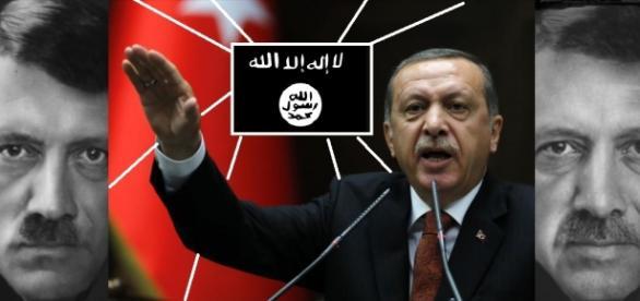 Erdogan con el emblema de Estado Isámico