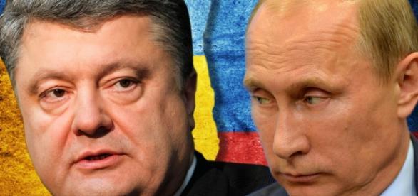 Piotr Poroshenko, presidente de Ucrania y Vladimir Putin, presidente de Rusia.