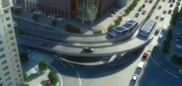 TBS, proyecto de un autobús elevado que salvará los atascon de tráfico