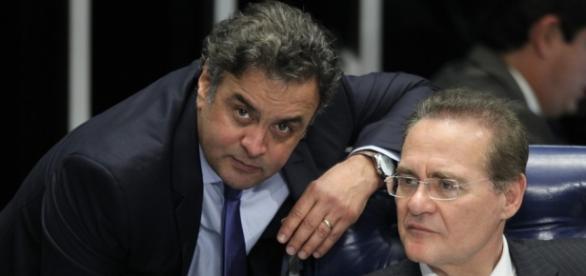 Aécio Neves e Renan Calheiros no Senado Federal