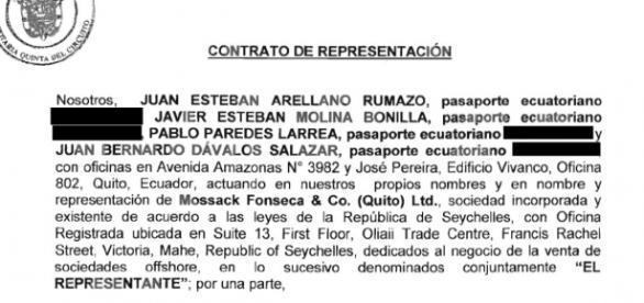 Contrato de representación de Mossack & Fonseca Quito