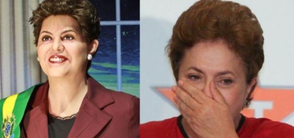 Dilma Rousseff e seu boneco em museu