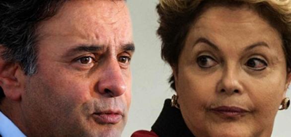 Aécio Neves (na foto, ao lado de Dilma Rousseff) vem sendo citado em gravações de Sérgio Machado (Fonte: Reprodução)