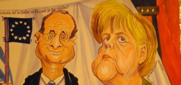 Caricatura de François Hollande y Angela Merkel