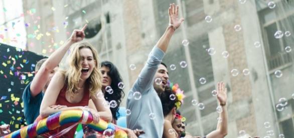 Um dos trios da Parada do Orgulho LGBT foi dedicado às gravações de Sense8, da Netflix. (Foto: Gustavo Sampaio)