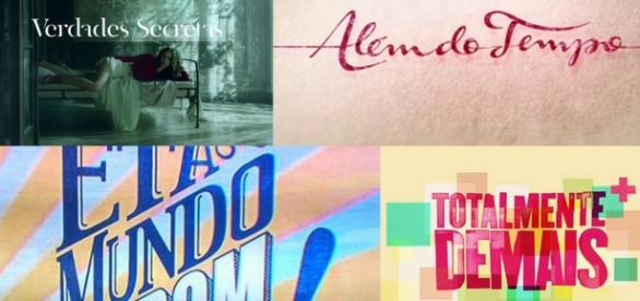 Logos de novelas cujos temas principais foram decisivos para o seu sucesso.
