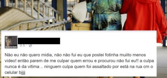 Menina diz que não quer mídia - Imagem/Facebook