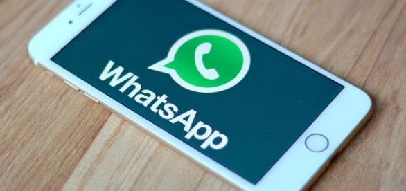 Foto de celular acessando o WhatsApp