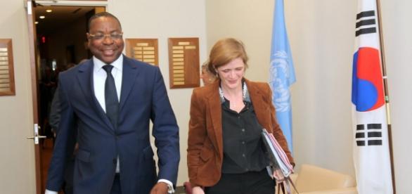 Senegal Foreign Minister Mankeur Ndiaye with US Ambassador to UN Smantha Power / Photo via UN