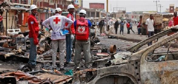 The aftermath of a Boko Haram suicide explosion in Nigeria / Red Cross Photo, Guardian