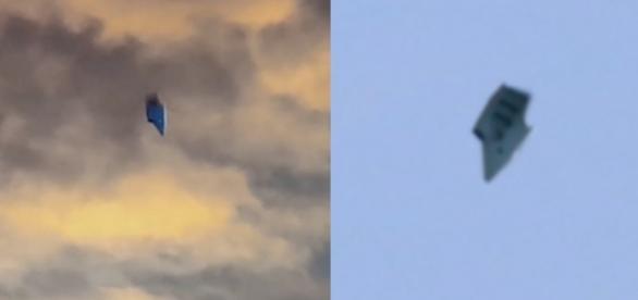 O estranho objeto flagrado em dois momentos diferentes. YouTube