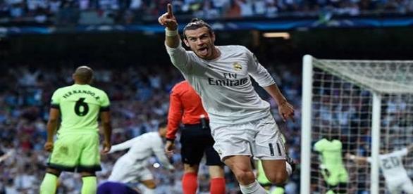 Bale comemorando o gol do Real Madrid.