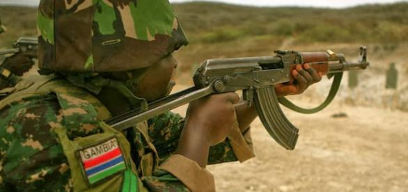 Gambian soldier in training / Photo via State House