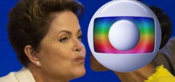 Dilma Rousseff e logo da TV Globo
