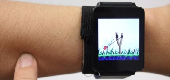The future is here: play Angry Birds on your arm. (Credit: SkinTrack via Future Interfaces Group)