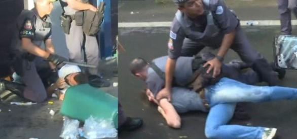 Mulher é enforcada pela polícia em manifestação