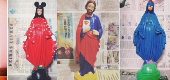 Um exemplo que foi bastante criticado foi a comparação da imagem da Virgem Maria que a artista a transformou em galinha pintadinha.